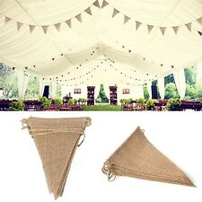 3Yds 2.8M Vintage Rustic Hessian Burlap Bunting Banner for Wedding Party Decor