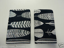 Tribal Feathers - White on Black Burp Cloths - 2 Pack Toweling Back - Free Post!
