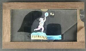 VICTORIAN HAND PAINTED MAGIC LANTERN SLIPPING SLIDE / BUTTERFLY CATCHER