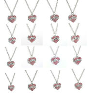 Fashion Heart Crystal Rhinestones Pendant Chain Necklace Family Gifts Jewelry