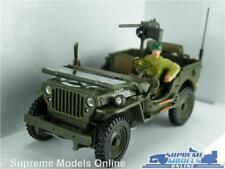 WILLYS JEEP CAR MODEL 1:43 ARMY MILITARY WITH DRIVER CARARAMA GREEN OPEN USA T3