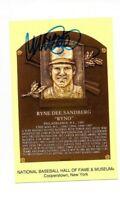 Ryne Sandberg Signed Hall Of Fame Plaque Postcard HOF 05 Autograph Chicago Cubs+