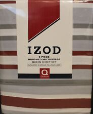 IZOD Bradley Stripe Queen Sheet Set 6pcs Microfiber Contemporary Cottage Modern