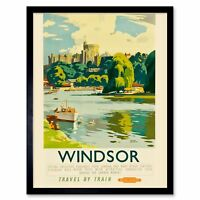 Travel Tourism Windsor Castle Thames River Boat Royal England Uk Framed Print