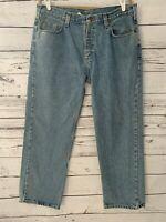 Mens Vintage Carhartt Jeans Size 38x30 Light Wash Long Pant Denim Jeans Pockets