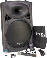 IBIZA Mobile Akku Sound Anlage PORT15VHF Bluetooth USB MP3 SD Funkmikrofon 800W