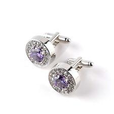 Purple Enamel  Crystal - Designer Mens Cufflinks - New With Cufflink box