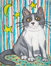 New listing British Shorthair Cat Moon and Stars Collectibles 8 x 10 Signed Pop Art Print