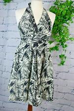 Kleid ✿ Palmen Muster Tropical ✿ Gr. 38 Neckholder weiß schwarz limitiert H&M