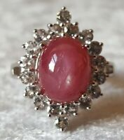 Sterling silver & ruby vintage Art Deco antique ring - size O