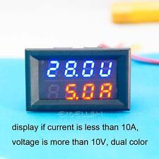 Dual DC 0-30V 50A Red & Blue Ammeter Voltmeter LCD Panel Amp Volt Current Meter