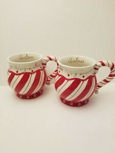 Terramoto Ceramic Merry Christmas Candy Cane Swirl Coffee Mug Cup Set of 2