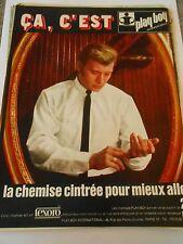 PUB Playboy la chemise cintrée johnny hallyday Advert Print 1966