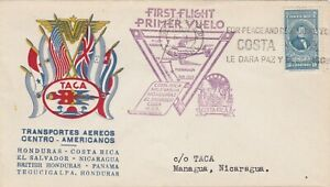 COSTA RICA : TRANS. AEREOS CEN. AMERICAN. FIRST FLIGHT COVER TO NICARAGUA (1943)