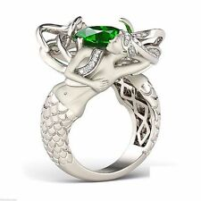Emerald & White Stone Studded 925 Sterling Silver Mermaid Designed Fabulous Ring