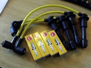 HT leads & NGK spark plugs set, 8mm yellow, Mazda MX5 mk1 NA 1.6 1.8, plug wires