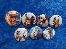 """1"""" pinback button set inspired  by """"The Lone Ranger""""  classic TV"""