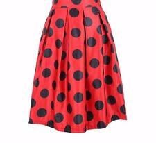 Gorgeous Red & Black Polka Dot Satin Full Pleated Swing Midi Skirt OS