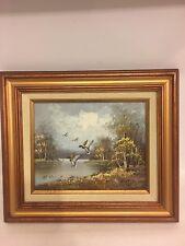 Flying ducks forest lake scene oil on board painting 15''x 13''