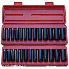 "Deep Impact Socket Set 3/8"" 25pcs Heavy Duty in Cases MM & SAE Sockets Air Tools"