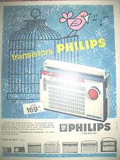 PUBLICITE DE PRESSE PHILIPS TRANSISTOR RADIO OISEAU CAGE FRENCH AD 1963