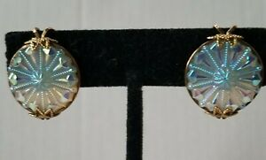 Antique Clip On Gold Frame Round Camphor Glass Earrings