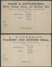 Two 1870s Charlestown, Massachusetts Saw Mill Cards - Planing Moulding Sawing