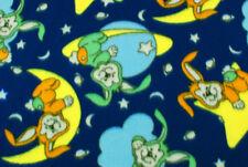 Tessuto pile blu coniglietti nello spazio STOFFA AL METRO TESSUTO A METRAGGIO