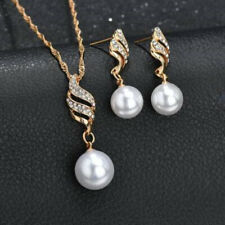 Lady Earring Necklace Wedding Pearl Gift Imitation Pendant Gold Plated Beauty
