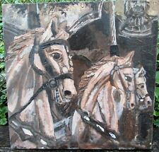 MERRY GO ROUND ACRYLIC LANDSCAPE OIL ON UNSTRETCHED CANVAS 18  X 18
