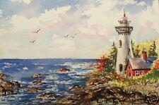 Lighthouse Ocean Sea Sunrise  O/E Print  ACEO by Vicki