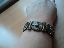 blue stone detail Brown enamel/metal bracelet with