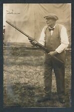 1910 A.J. MAYER CHAMPION TRAP SHOOTER with GUN Vintage Photo
