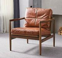 Howes Luxury Brown Leather Solid Wood Accent Armchair Chair NEW - RRP £1000