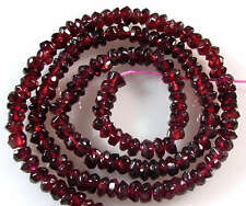 GENUINE GEMSTONE CHERRY RED GARNET FACETED RONDELLE 5mm BEADS 14""