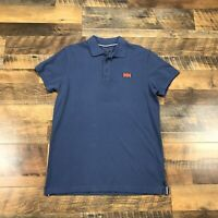 Helly Hansen Polo Shirt Adult Large Blue Outdoors Hiking Ski Rugby Mens HH Logo