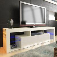 TV LOWBOARD SCHRANK TISCH BOARD 160cm HOCHGLANZ mit RBG LED-Beleuchtung weiß