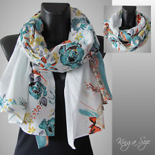 Schal / Scarf Schultertuch Tuch Loop Cloth Floraldesign - Baumwolle - türkis