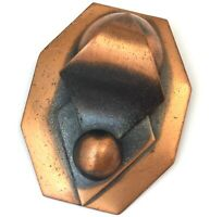 VINTAGE COPPER TONE METAL BROOCH NECKLACE PENDANT ABSTRACT MODERNIST JEWELRY PIN