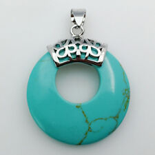 Turquoise Howlite Round Donut Circle Reiki Chakra Silver Pendant for Necklace