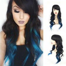 Women Ladies Blue Ombre Hair Full Wig Fashion Style Black Root Long Curly Wigs
