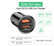 30W Car Charger Type C PD Fast Charger iPhone Quick Charge Samsung Huawei Xiaomi
