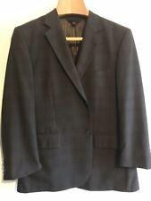 Men BARONI super 150s Wool SPORTCOAT Window Pane Plaid Jacket BROWN/blue 44SHORT