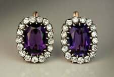 6.18 Ct Large Oval Amethyst Sim Diamond Halo English Hook Earrings in 925 Silver