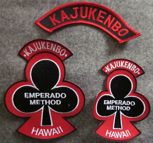 LOT OF 3 KAJUKENBO HAWAII MARTIAL ARTS PATCHES - BLACK BACKGROUND
