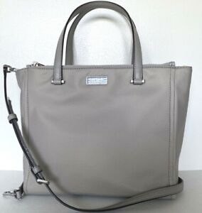 New Kate Spade New York Dawn Medium Satchel Nylon handbag Soft Taupe