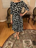 LEOTA WOMENS 3/4 BLACK AND WHITE OPEN BACK A-LINE BELTED DRESS NWOT Size XS