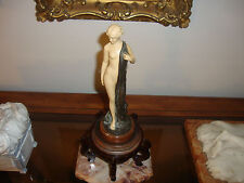 French Art Nouveau gilt and patinated bronze Nude Figurine