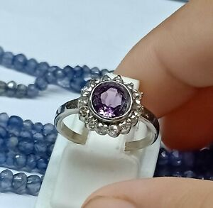 9 Carat Gold Unique Jewelry Ring Pave Diamond With Amethyst Gems Amazing Rings,