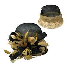mujer en negro / paja / Negro / Dorado Flor Sombrero 39004-1